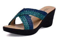 Wedge it blue with comfortable crossed straps! #Limeroad Visit http://www.limeroad.com/women-footwear for more.