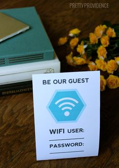 Free Guest Wifi Card Printable.. I love this! Such a fun touch for hosting guests! Now I won't have to tell everyone a million times what the password is.