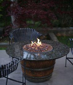 Wine Barrel  Fireplace Table