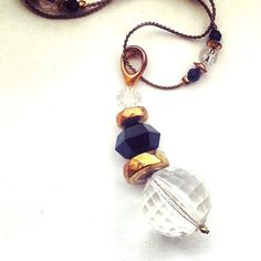 Super Long Vintage Gold Crystal & Onyx by GemsFitForAQueen on Etsy, $18.50