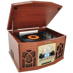 Bluetooth(R) Retro Vintage Classic Style Turntable Vinyl Record Player with Vinyl-to-MP3 Recording (Wood) - PYLE HOME - PTCDS7UBTBW