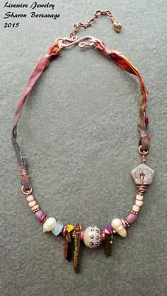 Tribal Influenced Lampwork Glass Sari Silk by livewirejewelrysb with lampwork focal bead by Julie Wong Sontag. #uglibeads