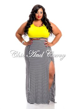 New Arrival  New Plus Size Maxi Dress in Black, Lime Green and Yellow Stripe Bottom with Side Slits  http://www.chicandcurvy.com/newarrivals/product/10513-new-plus-size-maxi-dress-in-black-lime-green-yellow-top-and-stripe-bottom-with-side-slits-1x-2x-3x