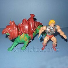 Vintage 1983 mattel motu battle #armor #he-man & battle cat battlecat…