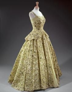 Lime green gown with crinoline skirt heavily embroidered with beads and sequins Norman Hartnell  Worn by Queen Elizabeth II - 1950s