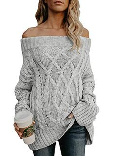 0bda8ad540a Allumk Womens Oversized Off The Shoulder Solid Loose Cable Knit Pullover  Sweaters Jumper