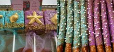 Dip pretzel rods in colored melted chocolate. While still warm, sprinkle with candy pearls.