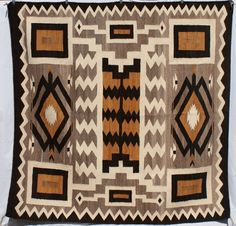 "Vintage 1940's Navajo Indian Large Rug 68"" x 68"" Square Storm Pattern"