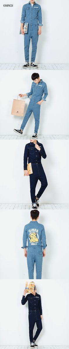New spring autumn mens jumpsuit overalls jeans fashion hiphop long sleeve a piece trousers male casual denim jumpsuit K164