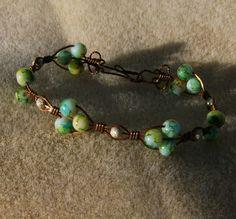 Wire Wrapped Bracelet  Vintage Multicolor Glass by JewelryArtistry