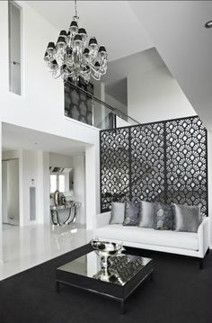 Love the way the lasercut screen partially separates the staircase from the lounge and creates a safety barrier, but still allows views through to several spaces/levels. Bellemore Homes-The Montage Display Home Privacy Screen Plants, Privacy Screen Outdoor, Cool Lock Screens, Modern House Facades, Decorative Screens, Metal Screen, Display Homes, Screen Design, Facade House