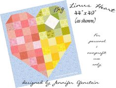Big Linus Heart Quilt - a free quilt pattern by Jennifer Ofenstein (sewhooked.com) for The Linus Connection. Free for personal & non-profit use. Use to make blankets for your favorite charity!