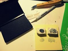 handmade rubber stamps, coffee bean and sheep