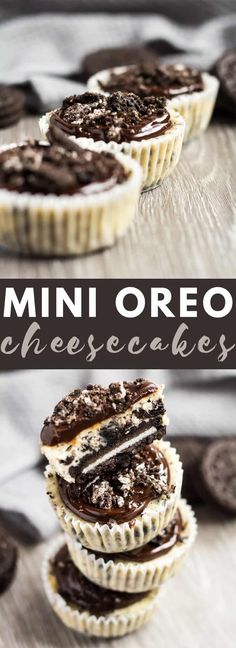 Mini Oreo Cheesecakes - These deliciously creamy mini vanilla cheesecakes are stuffed full of crushed Oreos and have a whole Oreo for the crust. A must-try for cheesecake and Oreo lovers! by elinor Mini Desserts, Easy Desserts, Delicious Desserts, Yummy Treats, Sweet Treats, Dessert Recipes, Oreo Treats, Dessert Ideas, Oreo Cheesecake Bites