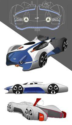 Alpine Vision Gran Turismo Concept Design Sketches by Victor Sfiazof