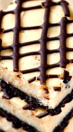 Peanut Butter Chocolate Cheesecake Bars ~ Sweet and creamy cheesecake bars with light peanut butter flavor and chocolate crust. Super easy and fun treat when the cravings hit! Cheesecake Bars, Cheesecake Recipes, Desserts Menu, Dessert Recipes, Chocolate Peanut Butter Cheesecake, Caramel Fudge, Dessert Bars, Other Recipes, Squares