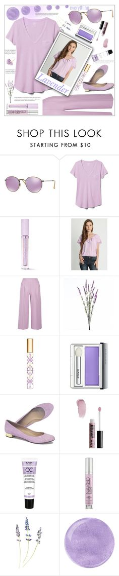 """monochrome lavender"" by rebellionleonora ❤ liked on Polyvore featuring Ray-Ban, Gap, Lime Crime, Chalayan, Wyld Home, Tory Burch, Clinique, J.Crew, NYX and Urban Decay"