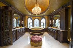 Traditional Master Bathroom with Flat panel cabinets, Master bathroom, Eastern accents glenwood ottoman, Flush, Arched window