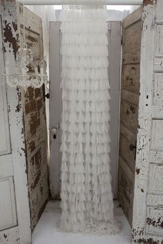 Couture Dreams Chichi Solid Ivory Petal Window Curtain Ships Free