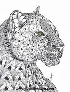 Tangled Leopard Abstract Doodle Zentangle Coloring pages colouring adult… Doodles Zentangles, Zentangle Patterns, Zentangle Animal, Mandalas Painting, Mandalas Drawing, Animal Coloring Pages, Coloring Book Pages, Coloring Sheets, Motifs Animal