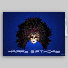 Mardis Gras Mask Birthday Card from www.zazzle.com/stevebrownleeart