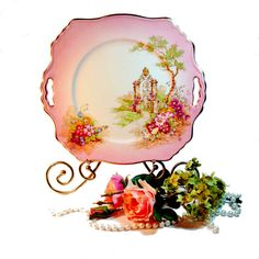 Vintage Pink Transferware Plate or Platter Valentine's Day Decor - Shabby Decor by northandsouthshabby, $34.99