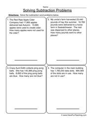 subtraction problem solving worksheet 3 | AJ | Pinterest