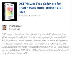 #TechnicalAdviser James kolay suggested #OSTViewer Software for Read OST File Information. Read information: https://annotary.com/collections/47095/third-party-software-collection