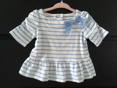 Janie and Jack baby girl blue Striped top with bow size 6-12 months - http://clothing.goshoppins.com/baby-toddler/janie-and-jack-baby-girl-blue-striped-top-with-bow-size-6-12-months/