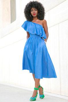 OCEAN BLUE // blue one shoulder dress Style Pantry