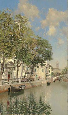 Gondolas on a Canal, Venice Aesthetic Painting, Aesthetic Art, Pretty Art, Cute Art, Art Hoe, Classical Art, Renaissance Art, Old Art, Beautiful Paintings