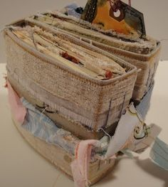 Like the use of burlap and old looking pages