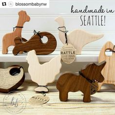 Shout out to @blossombabynw for their beautiful display of our wooden rattles! Go visit their shop! #Repost @blossombabynw  We have stocking stuffers for even the youngest member of the family! @manzanitakids all natural wooden rattles are perfect for little hands to grab and have a lovely soft rattling sound. Come see our selection! . . . #rattle #woodrattle #handmade #pnw #handmadeinthepnw #natural #safe #adorable #youknowyouneedthatchicken #blossombabynw