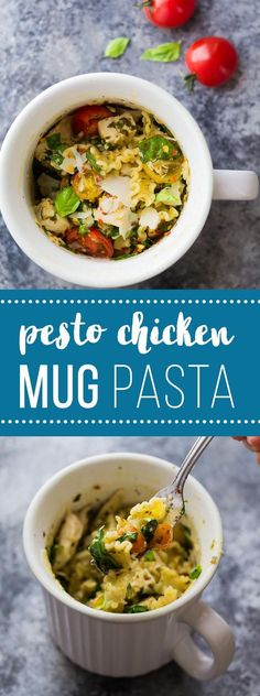 This Pesto Chicken Mug Pasta cooks in the microwave in just 10 minutes! The perfect dinner for one, dorm room meal, or lunch on the go! A healthy, easy, and quick work lunch option! #pasta #dormfood #lunch #mealprep #sweetpeasandsaffron via @sweetpeasaffron