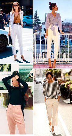 nvista nas calças de alfaiataria em tons claros: dessa maneira você continua pra lá de elegante e sempre refrescada. Nós estamos especialmente apaixonadas pelos tons mais crus como o creme e bege.