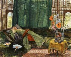 John Frederick Lewis, The Siesta, 1876 From the Tate Gallery:  The artist Edward Lear said of Lewis's Near Eastern subjects 'There never have been, and there never will be, any works depicting Oriental life more truly beautiful and excellent'.A trip to Spain in the early 1830s kindled Lewis's interest in 'exotic' lands, and in 1841 he settled in Cairo for ten years. On his return to England he earned a reputation for images of the Near East painted in watercolour or oils. Characterised by…