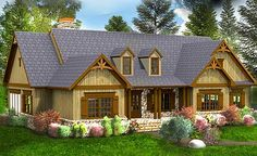 Architectural Designs Rustic House Plan 92366MX. 3 or 4 beds depending if you choose crawl space or walkout basement versions