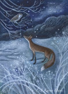 Have a wonderful evening my friend – Winterbilder Art And Illustration, Illustrations, Fox Art, Whimsical Art, Christmas Art, Beautiful Creatures, Fantasy Art, Fox Fantasy, Woodland