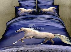New Arrival Lifelike Horse Print Purple 4 Piece Bedding Sets/Comforter Sets 3d Bedding Sets, Cotton Bedding Sets, Bedding Sets Online, Comforter Sets, Bedding Decor, Comforter Cover, Bed Duvet Covers, Duvet Cover Sets, Animal Print Bedding