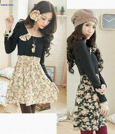Korean Fashion NWT Women Black Floral Bow Casual Long Sleeve Smock Mini Dress