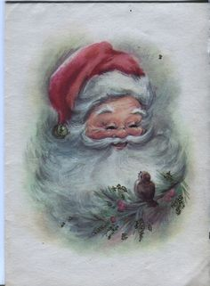 Vintage Hampshire Christmas Card - Santa Claus with a Bird _ Glitter