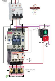 contactor wiring guide for 3 phase motor with circuit breaker rh pinterest com contactor and thermal overload relay wiring diagram Contactor Relay Wiring Diagram
