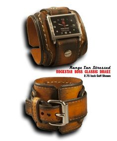 Range Tan Rockstar Boss Drake Leather Cuff Watch with Black Stainless Steel Face, Sapphire Lens & 10ATM Waterproof