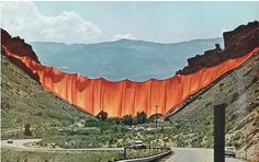 Valley Curtain - Rifle - Colorado - 1970-72  Christo and Jeanne-Claude  photo Harry Shunk