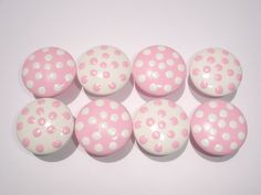 Set of 8 Hand Painted Pink and White by DaisyBlueCatDesigns, $22.00
