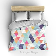 Colorful Triangle Geometric Duvet Cover/ Comforter cover/  3 sizes available, king, queen, twin /bedding/ Pink, White, Teal, Purple, Orange