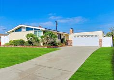 Built in 1954 by the Devon Construction Company is this Palmer & Krisel-designed modernist pool home in Parkwood La Mirada in La Mirada,. Mid Century House, Midcentury Modern, Devon, Modern Architecture, Sidewalk, Construction, Homes, Building, Outdoor Decor