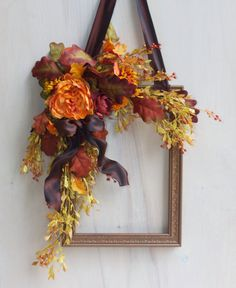 Fall Wreath Floral Wreath Picture Frame by DesignStudio13