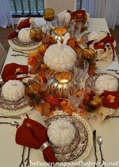 Thanksgiving Fall Table Setting with Spode Woodland, Pumpkin Tureens, Twig Flatware and Mercury Glass Pumpkin Lanterns Fall Table Settings, Thanksgiving Table Settings, Beautiful Table Settings, Thanksgiving Tablescapes, Holiday Tables, Thanksgiving Decorations, Seasonal Decor, Place Settings, Diy Thanksgiving