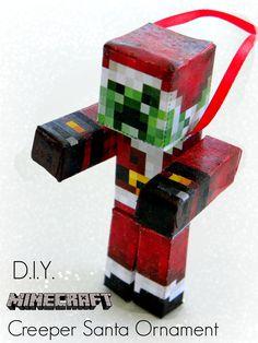 DIY MINECRAFT Creeper Santa Ornament